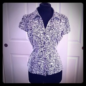 Black and white button up blouse